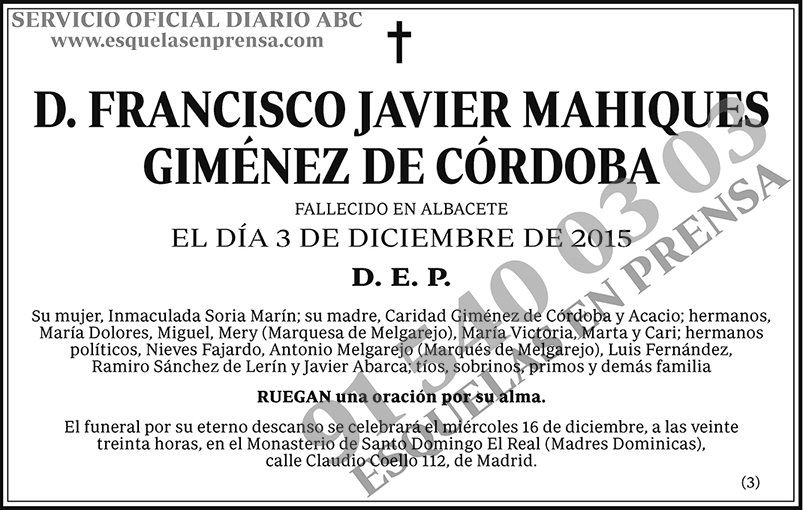 Francisco Javier Mahiques Giménez de Córdoba